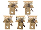 Kinteshun Wedding Party Favor Set,Skeleton Key Bottle Openers Candy Boxes Escort Tags and Jute Rope Souvenir Gift Set(Red Copper Tone,50 sets with 5 Styles)