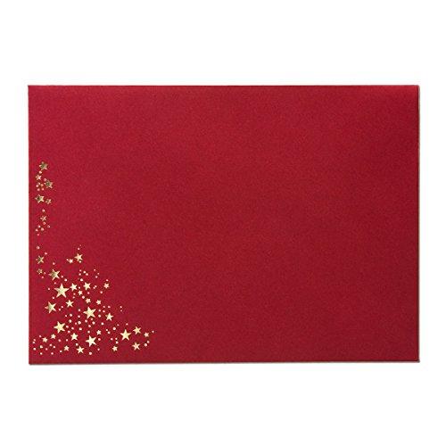 25x Weihnachts-Briefumschläge - DIN C5 - mit Gold-Metallic geprägtem Sternenregen, festlich Matter Umschlag in dunkelrot - Nassklebung, 110 g/m² - 154 x 220 mm - Marke: Gustav NEUSER®