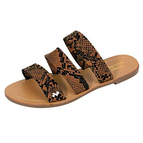 KERULA Damen Hausschuhe Flache RöMischer Stil Schlangenmuster Flip-Flops Badeschuhe Home Badelatschen rutschfest Slippers Pantoffeln Gartenschuhe Schlappen Slide Sandal Sandalen