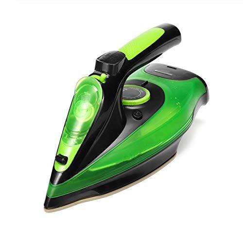DZTJ Plancha de Vapor eléctrica inalámbrica de 2400 W con Ajuste de 5 velocidades, Plancha de Vapor Plancha de Fondo de cerámica para generador de Vapor de Ropa-Verde