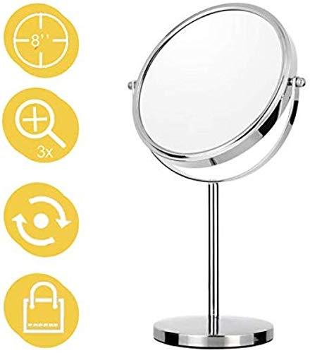 Générique Miroir grossissant Miroir de Maquillage Ø20cm Miroir grossissant 1/3x avec piètement Stable chromé