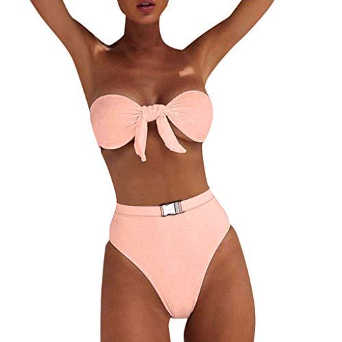 PPangUDing Bikini Set Damen Sexy Bandeau High Waist Push Up Einfarbig Geteilter Figurformend Bademode Swimwear Swimsuits,Frauen Sommer Strandmode Sport Slip UV Schutz Strandkleidung