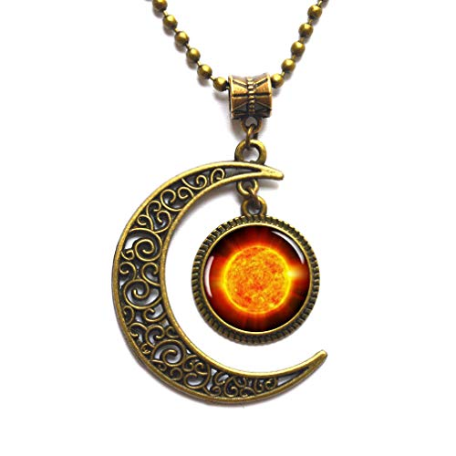 Space Pendant Necklace fire Sun Picture Jewelry Galaxy Necklace Planet Choker Universe Necklace,PU243