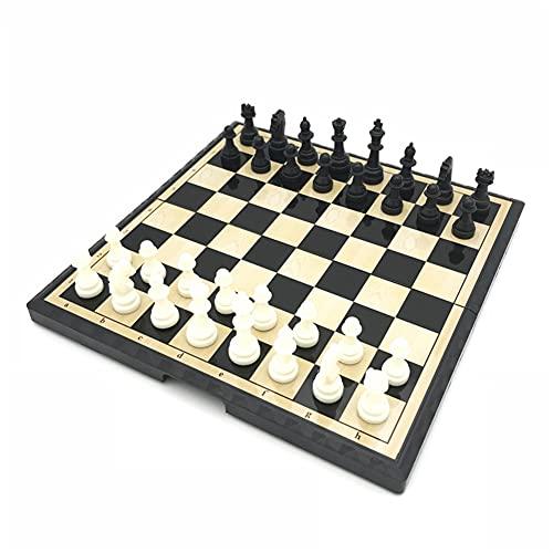Juego de ajedrez Conjunto de ajedrez magnético Pequeño Juego de ajedrez de plástico de plástico Juegos de Viaje Juego de Juegos de ajedrez de Viaje Juego de ajedrez Plegable al Aire Libre