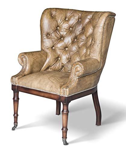 Casa Padrino Chesterfield Echtleder Sessel Vintage Leder mit Rollen Wohnzimmer Ohrensessel Möbel Büffelleder Sessel