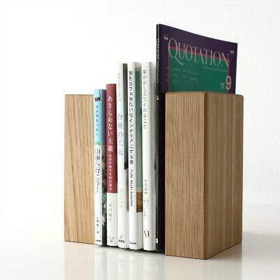 本立て ブックエンド 木製 無垢 天然木 ナチュラルウッドのブックエンド オーク [map8841]