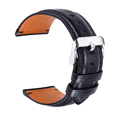 hunteen Uhrenarmband, Lederarmband 24 mm für Frauen oder Männer, Ersatz-Uhrenarmband mit Edelstahl-Metallverschluss für Herren, Damen, traditionelles Sportuhr-Zubehör, Schwarz