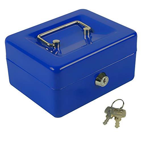 "KYODOLED Cash Box with Money Tray,Small Safe Lock Box with Key,Mini Safe Box,5.91""x 4.72""x 3.15"" Blue Small"