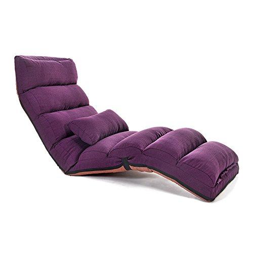Reclinables LHA Lazy Sofa Single Bedroom Cute Girl Tatami Single Bay Window Silla Plegable Small Sofa Bed Chaise Longue (Color : Purple)