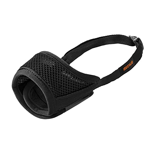 IREENUO Dog Muzzle to Prevent Biting Barking and Chewing with Adjustable Loop Breathable Mesh Soft Fabric - S, Black
