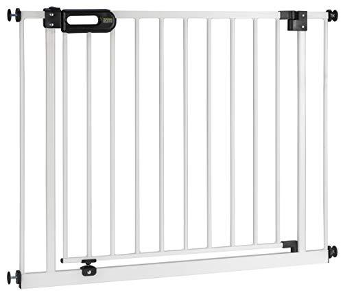 BOMI Türschutzgitter 83-243 | Zum Klemmen | 90° Stop | Schließt automatisch | Tuerschutzgitter weiß Metall Selbstschließend | Treppengitter zum Klemmen für Baby