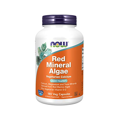 NOW Supplements, Red Mineral Algae Plus Vitamin D-2, Joint Health*, 180 Veg Capsules