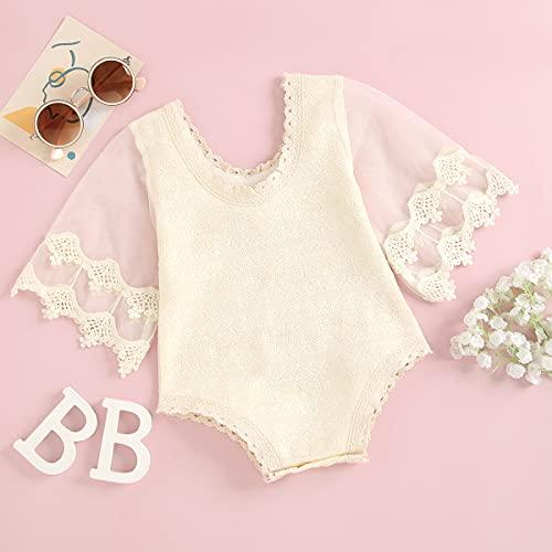 Mono de bebé de encaje para niña, vestido de princesa, elegante, con volantes, manga larga, vestido de bautizo, beige, 6-9 Meses