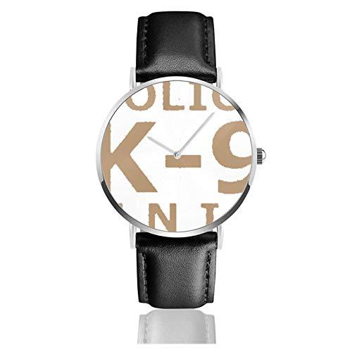 K9 Policía clásico reloj de cuarzo casual acero inoxidable correa de cuero negro relojes de pulsera
