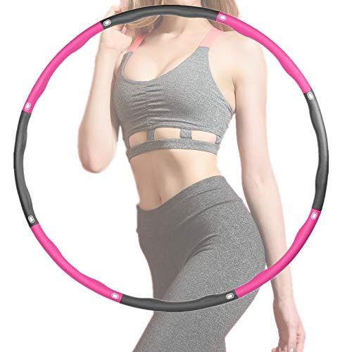 Rwest X Fitness Hula Hoop, Sport für Erwachsene und Kinder hulahoop,6-8 Teiliger Abnehmbarer Hula-Hoop-Reifen Einstellbare Breite 48-88cm für Fitness/Training/Bauchformung (1.2kg) (Lila grau 01)