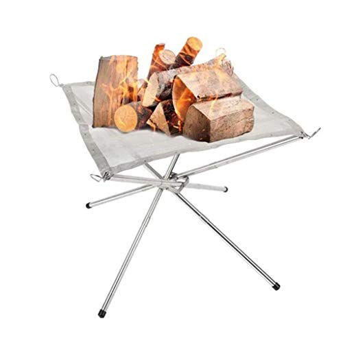 Fire Pits Portable, stainless steel mesh fireplace for patio, camping, backyard and garden, foldable outdoor