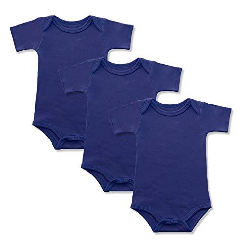 BINIDUCKLING Baby Jungen Body Kurzarm 3-Pack Dunkelblau 3 Monate