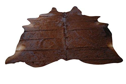 Rindsleder Fellteppich Natür - Schönes Dunkel Braun Muster - 229 cm x 190 cm handverlesen für Sie...