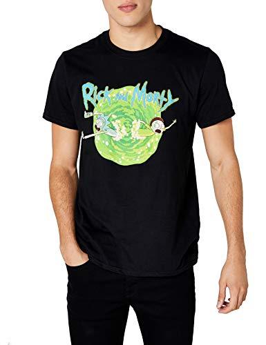 I-D-C CID Rick and Morty-Black Portal Camiseta, Negro, XXL para Hombre