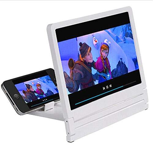 Amplificador de pantalla para teléfono móvil Kahuorey 3D Amplificador Lupa de Pantalla Plegable Portátil para Vídeos y Películas, para Teléfono Móvil Universal 8.2 pulgadas Blanco 8.2 pulgadas