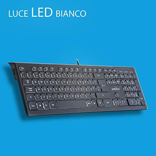Perixx PERIBOARD-324 Tastiera retroilluminata Ultrasottile con 2 Porte USB e meccanismo a Farfalla per Windows, Luce LED Bianco, Layout Italiano