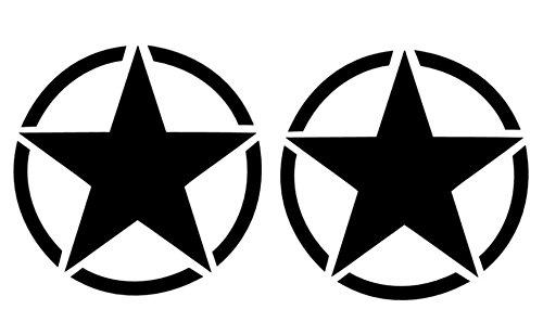 generisch USA Set Army 2X Star Aufkleber Autoaufkleber in 20x20cm, 40x40cm oder 50x50cm (91/11) (schwarz matt, 40x40cm)