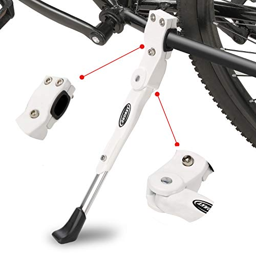 ANWONE Bicycle Kickstand, Adjustable Aluminum Alloy MTB Bike Stand With Anti-slip Rubber Foot, Universal Alloy Kick Stand for Mountain Bike, Road Bike and Folding Bike 22' - 27'(White)