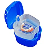 Rambling Denture Bath Box Case Dental False Teeth Storage Box with Hanging Net Container (Dark Blue)