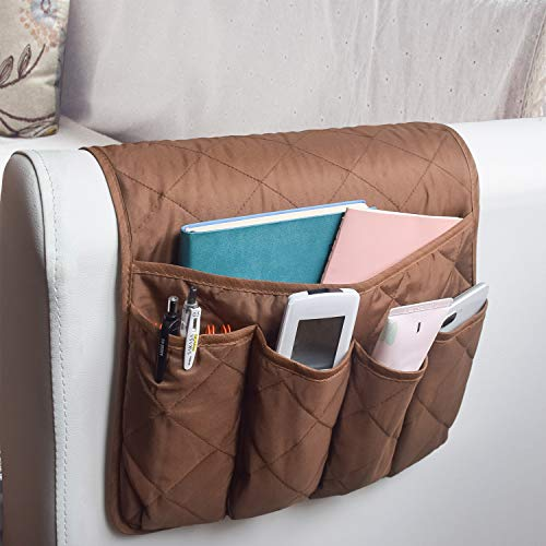 MDSTOP Sofa Couch Chair Armrest Organizer, Fits for Phone, Book, Magazines, TV Remote Control (Coffee)