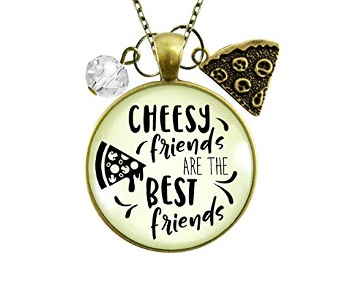 gutsy goodness friend pendants Gutsy Goodness Pizza Friendship Necklace Cheesy Best Friends BFF Jewelry Gift Charm 24