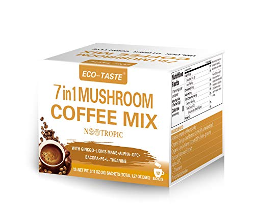 Mushroom Coffee Mix 7 in 1, with Ginkgo, Lions Mane, Alpha-GPC, Bacopa, PS, L-Theanine – 12 Sachets