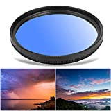 Graduated Color Filter, 58mm Ultralight Aluminium Alloy Camera Circular Gradient Lens Filter Camera Photography Lens, Gift for Photographer Youth Adults Shutterbug(Blue)