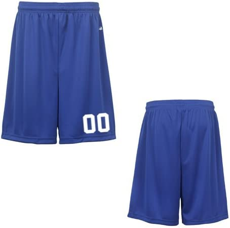 Royal Blue Youth Small (Custom with Uniform #) Athletic Wicking Sports Shorts