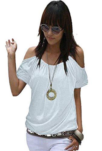 Mississhop Japan Style Damen Top T - Shirt Bluse Longshirt Tunika Tanktop Oberteil NATA weiß S