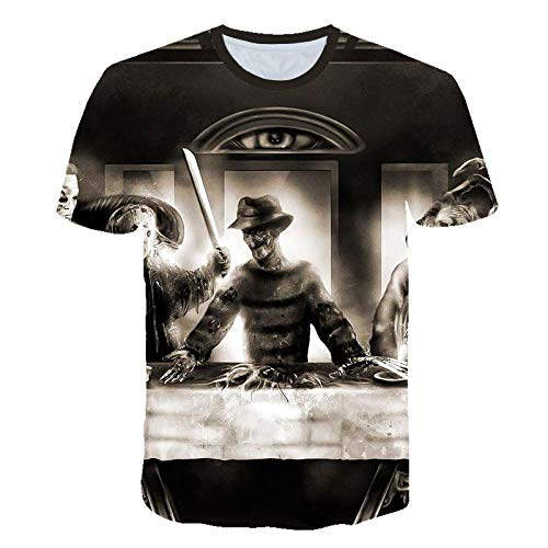 Unisex Sommer T-Shirt 3D-Digitaldruck Horrorfilm Jason Voorhees/Freddy Krueger Serie Muster lässig Männer und Frauen Kurze Ärmel-S_S.