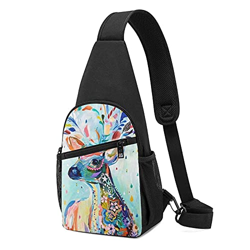 VJSDIUD Mochila de hombro colorida para hombre y mujer de ciervos, mochila multifunción para senderismo, acampada y deportes con impresión 3d