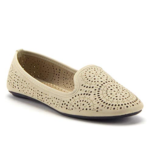J'aime Aldo Women's Kelly-18 Laser Cut Out Slip On Smoking Loafers Ballet Flats Shoes, Beige, 6
