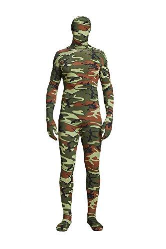Full Bodysuit Spandex Unisex Unitard Tights Suit Zentai Cosplay Costume (X-Large, Green Camo)