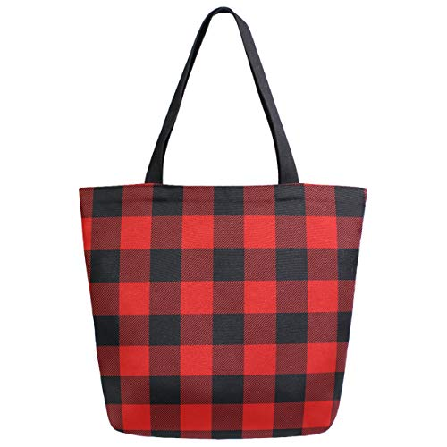 Red Black Plaid Extra Large Grocery Bag Rustic Buffalo Checkers Plaids Reusable Canvas Tote Bag Casual Beach Shopping Tote Heavy Duty Washable Shoulder Bags Handbag