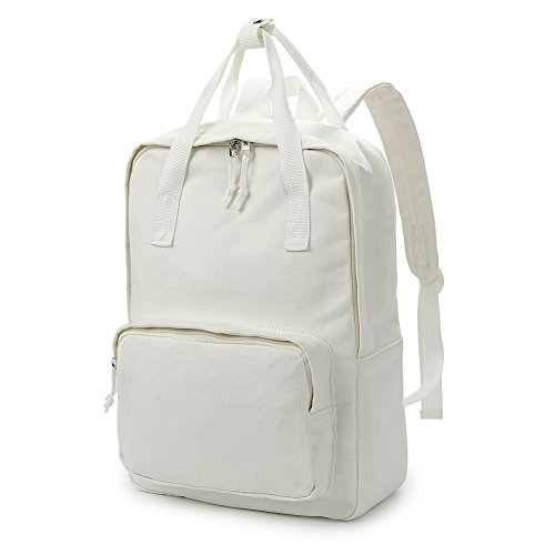 Zicac Unisex DIY Canvas Backpack Daypack Satchel (White 02) (Beige)