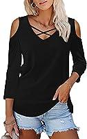 Amoretu Womens Summer Shirts V Neck Criss Cross Cold Shoulder Tops Blouse
