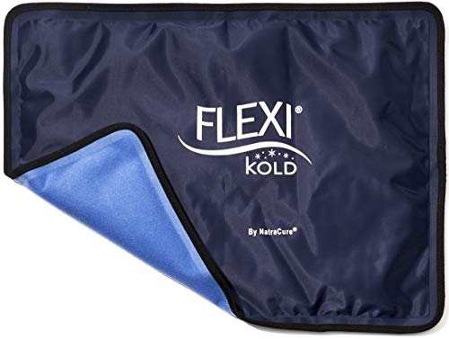 """FlexiKold Gel Ice Pack w/Straps (Standard Large: 10.5"""" x 14.5"""") - Reusable Cold Pack Compress (Therapy for Pain, Injuries of Knee, Shoulder, Foot, Back, Ankle, Neck, Hip, Elbow) - 6300 Cold-Strap"""