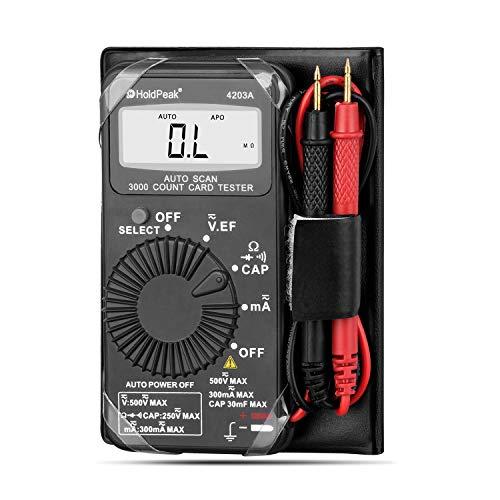 HoldPeak Mini Multímetro Digital 4203A Pantalla 2999 Cuentas, Herramienta Bolsillo Probar Voltaje/Corriente de CA/CC, Resistencia, Capacitancia, Diodo, Continuidad, Solución de Problemas Eléctricos