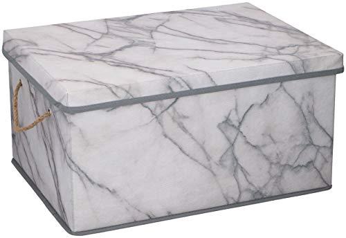 Urban Design Aufbewahrungsbox Aufbewahrung Lagerung Box Kiste faltbar mit Deckel und Trageseil aus Stoff in Marmor Optik (M)