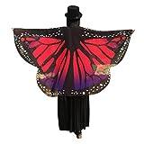 OVERDOSE Frauen Schmetterling Flügel Schal Loose Kimono Strickjacke Top Shirt Bluse Butterfly Wings Shawl Halloween Cosplay Kostüm Weihnachten Kostüm 160 * 140cm (160*140cm, Hot Pink1)