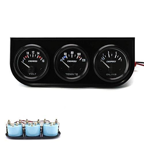 WY-YAN Panel de instrumentos 52mm Triple Electrial Calibre Kit de agua de temperatura Gauge + prensa de aceite + voltímetro sensor de temperatura del metro del coche for motores, barcos, automóviles m