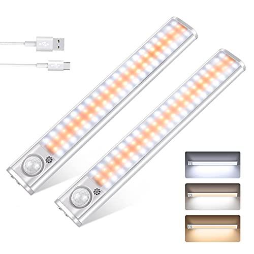 Luce Armadio, Luci LED per armadio con sensore di movimento, Lampada Armadio con 80 LED e 3 colori e...