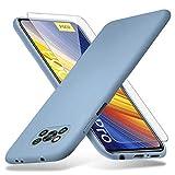 Richgle Compatibile con Cover Xiaomi Poco X3 PRO/Poco X3 NFC & Pellicola Vetro Temperato, Sottile Silicone Morbido TPU Custodia Cover Case Compatibile con Poco X3 PRO - Grigio Lavanda RG80597