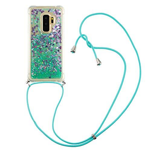 Flüssig Treibsand Silikon TPU Bumper Hülle (Mit Lanyard )für Samsung Galaxy S9+ / S9 Plus(Grüne Liebe)