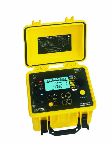 AEMC 5060 Digital Megohmmeter Insulation Tester with RS232 Output, 500/1,000/2,500/5,000V Test Voltages, 10 Teraohms Insulation Resistance, 50 Microfarads Capacitance, 3,000 Microamperes Leakage Current, 1,000V Voltage